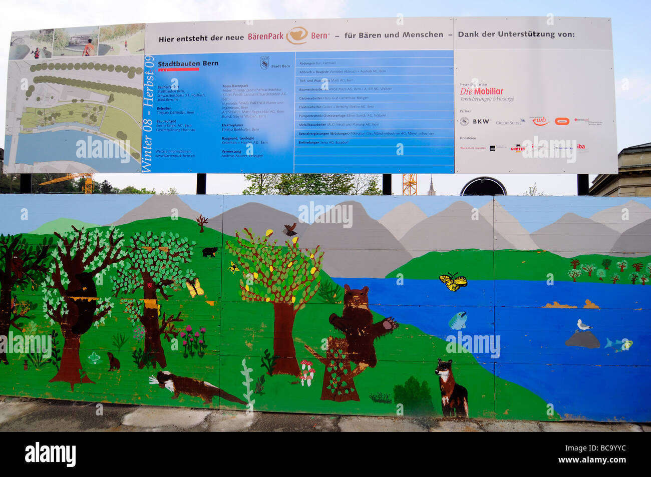 Child drawings of bears to promote a new bears pit in central Bern, Switzerland - Stock Image