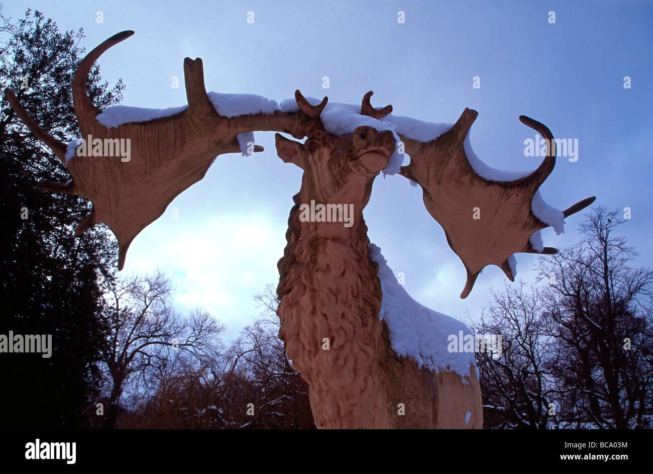 Victorian model of extinct Irish Elk, Crystal Palace Park South London England UK Stock Photo