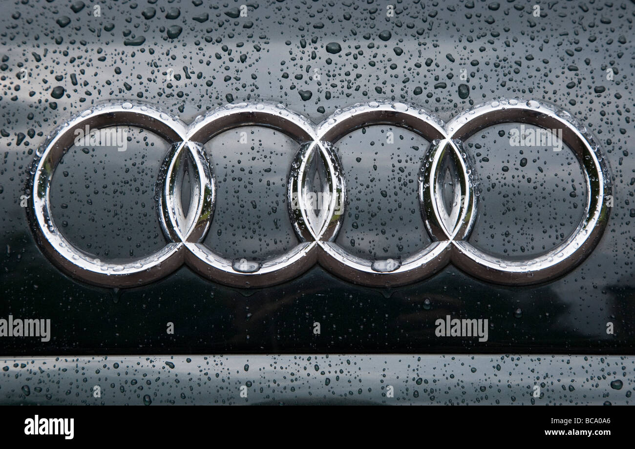 Audi Symbol On Car Front In Rain Stock Photo 24806046 Alamy