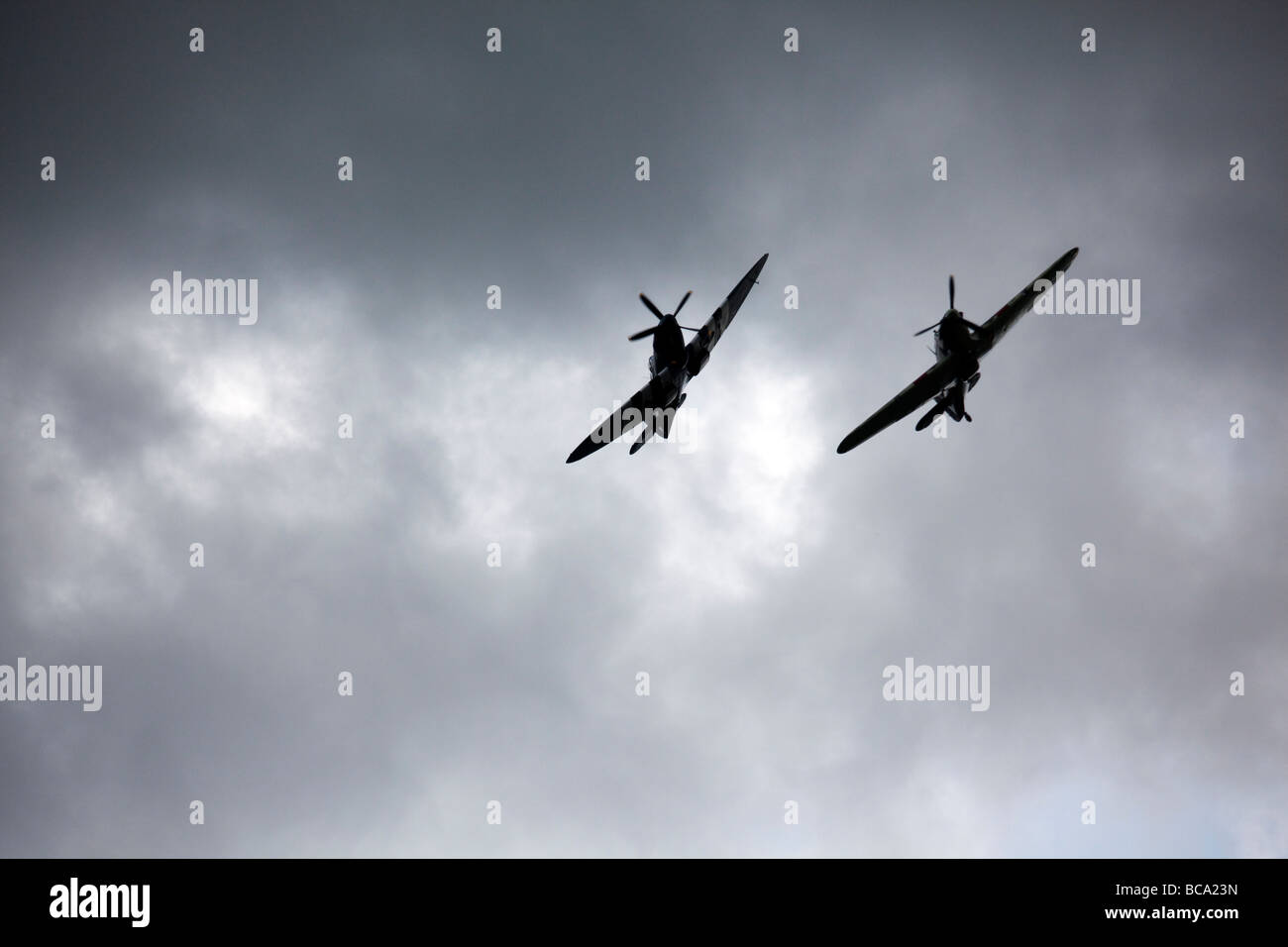 Hurricane and Spitfire on Fly Past at Richmond Yorkshire - Stock Image