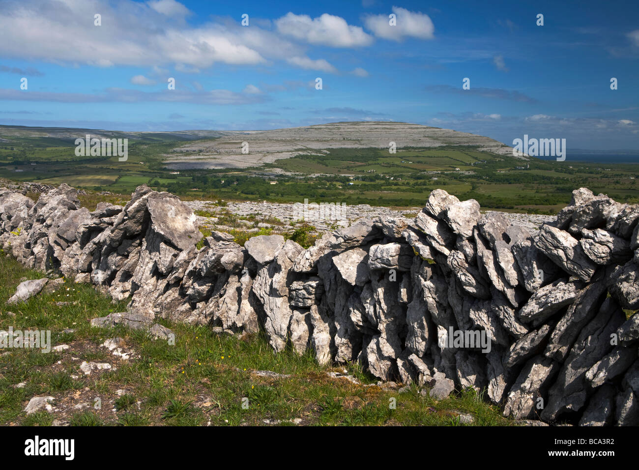 A view of the Burren in County Clare, Eire, looking towards the mountain Cappanawalla - Stock Image