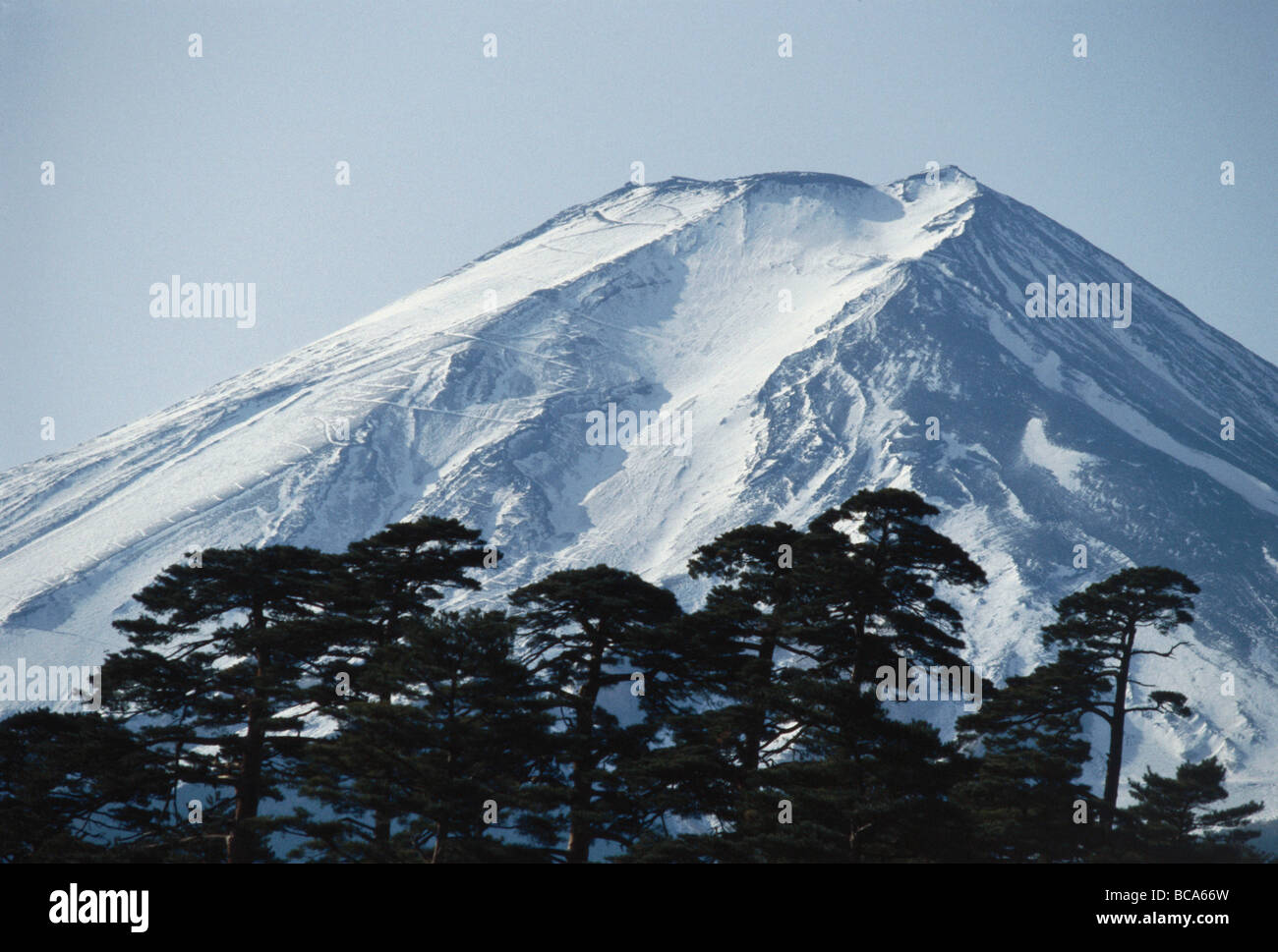 View of the Fujijama, Fujisan, Fuji, the highest mountain in Japan, Honshu, Japan - Stock Image