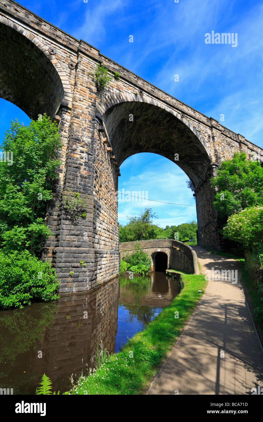 Viaduct over the Huddersfield Narrow Canal Uppermill Saddleworth Oldham Greater Manchester Lancashire England UK - Stock Image