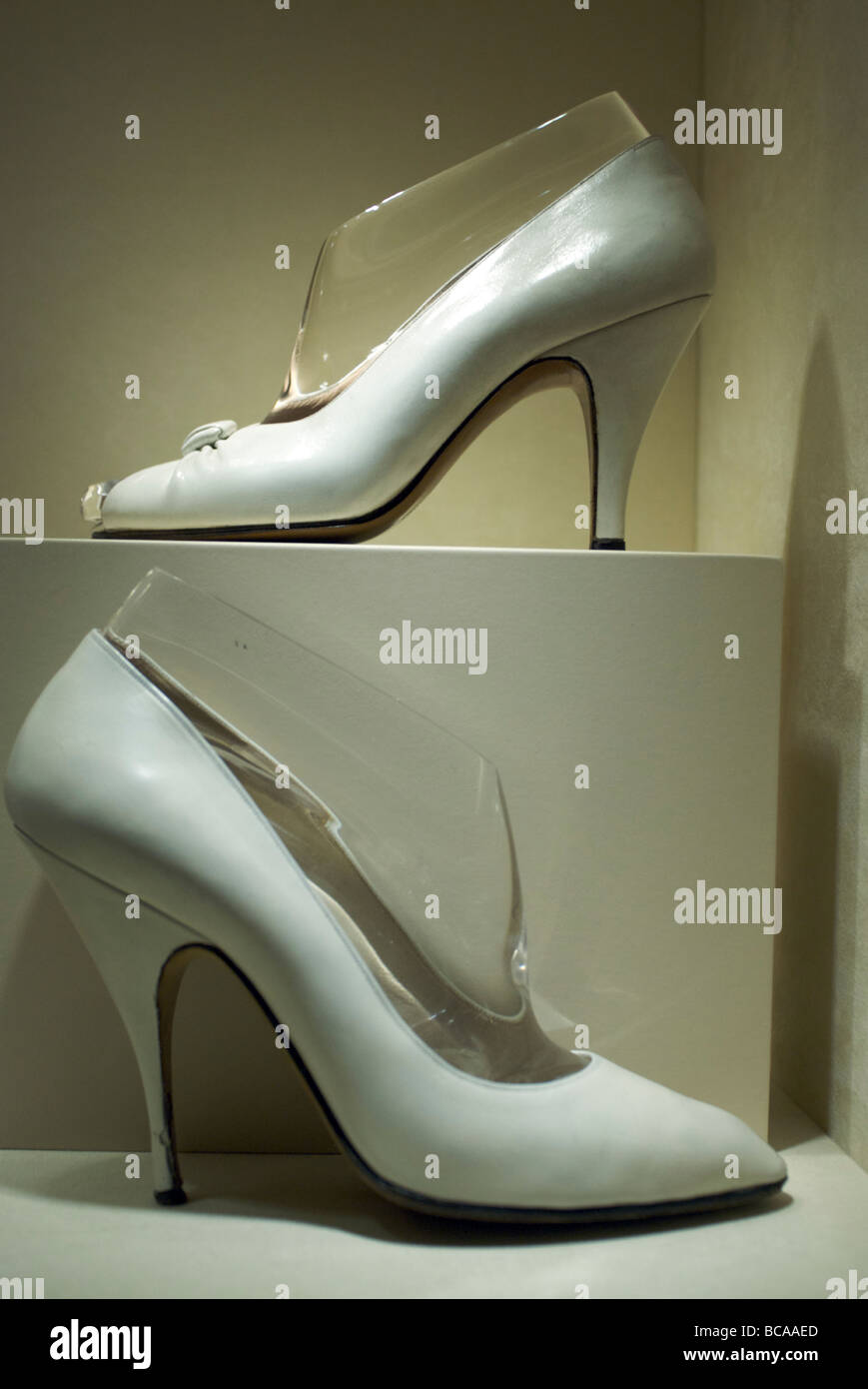 Exposition of Ferragamo's shoes. Opened in 1995 , the Salvatore Ferragamo Museum was designed to show the public - Stock Image
