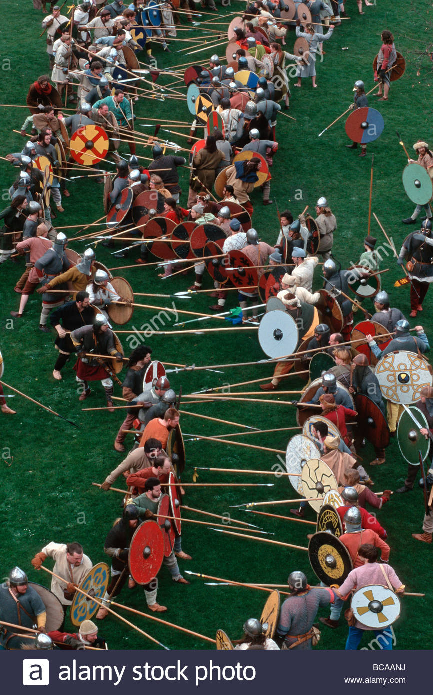 England, York: Reenactment of the Battle of York by the Vikings against the English - Stock Image