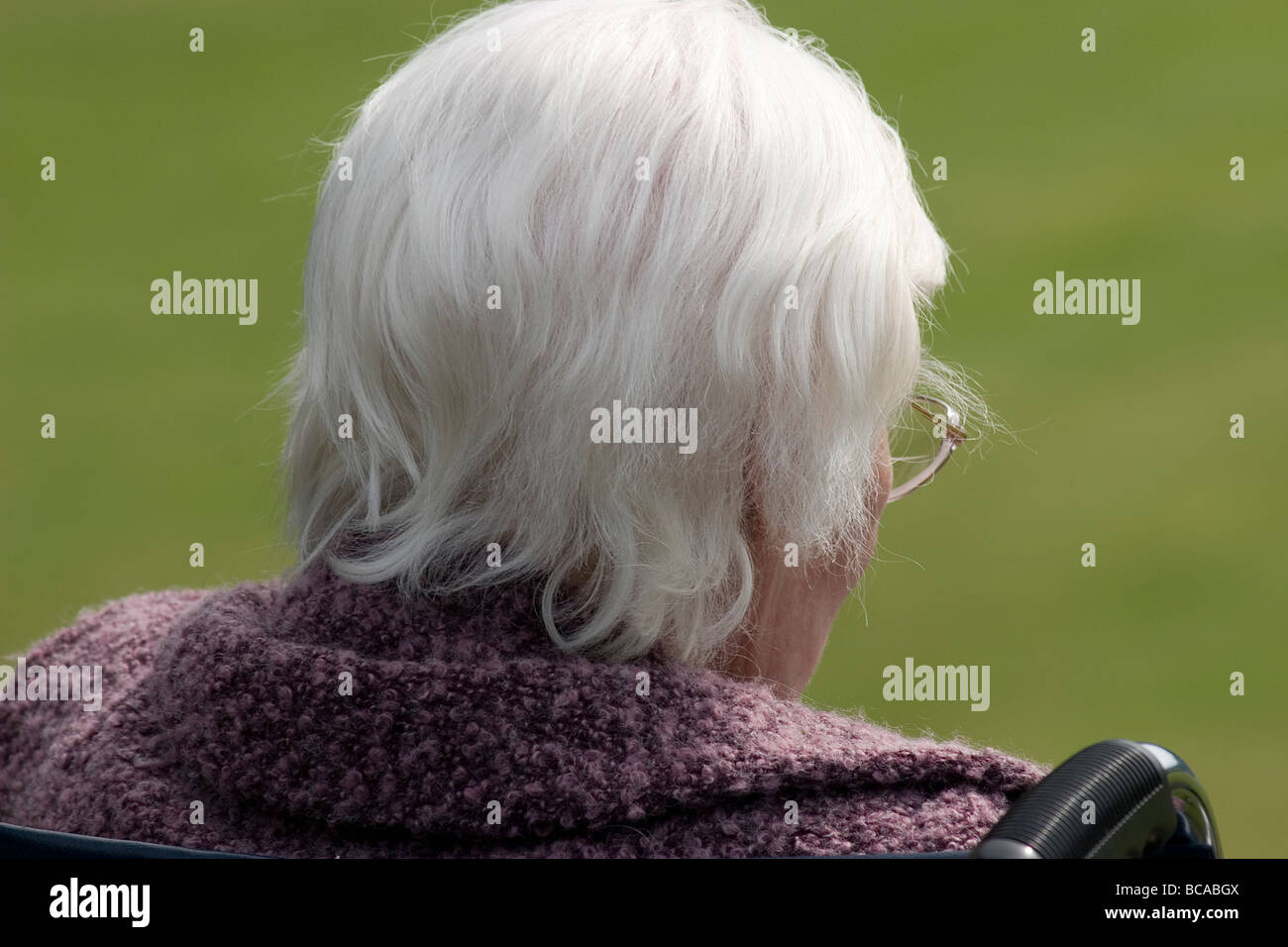 unhappy very old lady in wheelchair in park - Stock Image