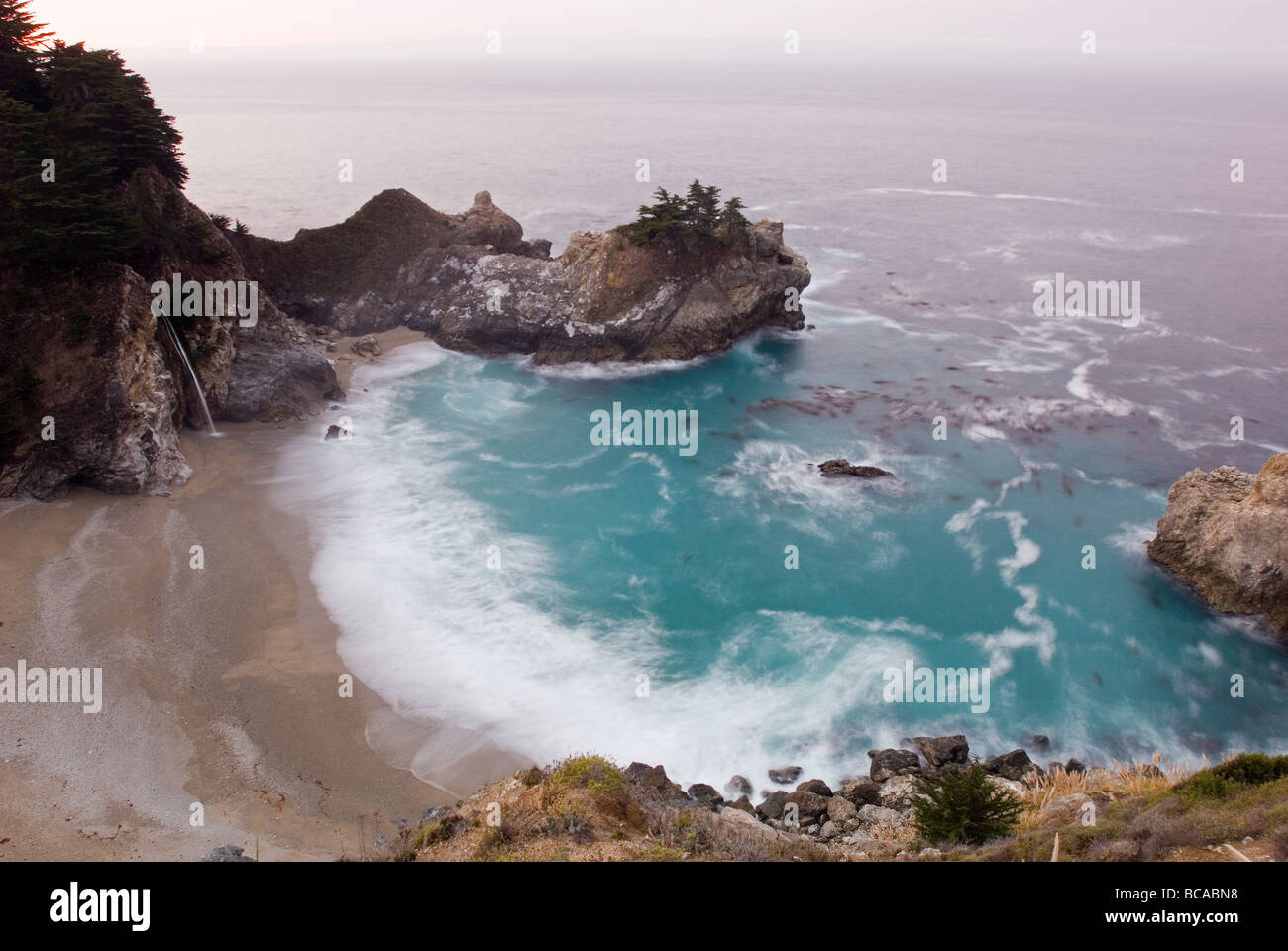 McWay Cove Waterfall at Julia Pfeiffer Burns State Park, - Stock Image