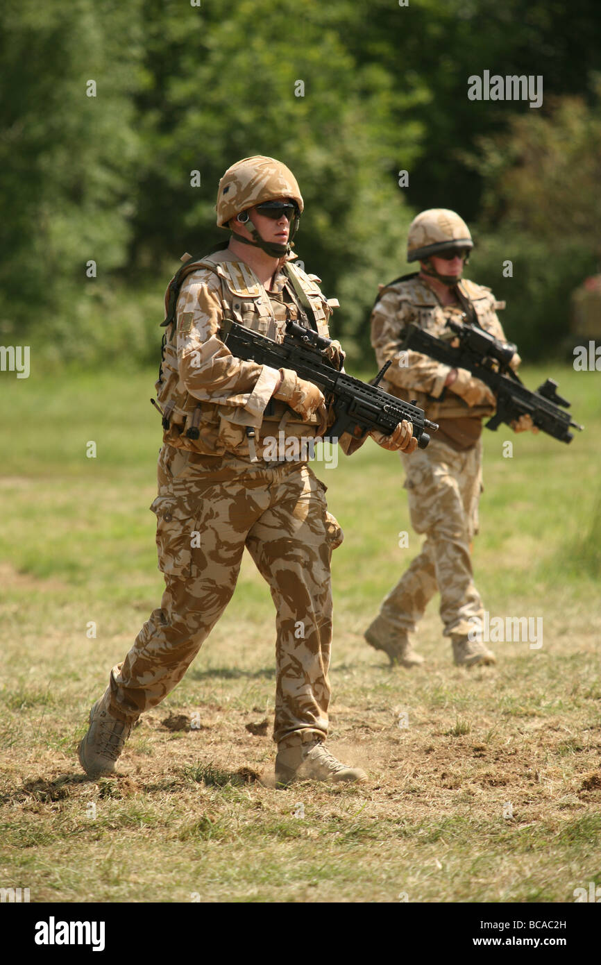 British Army infantry on exercise in UK - Stock Image