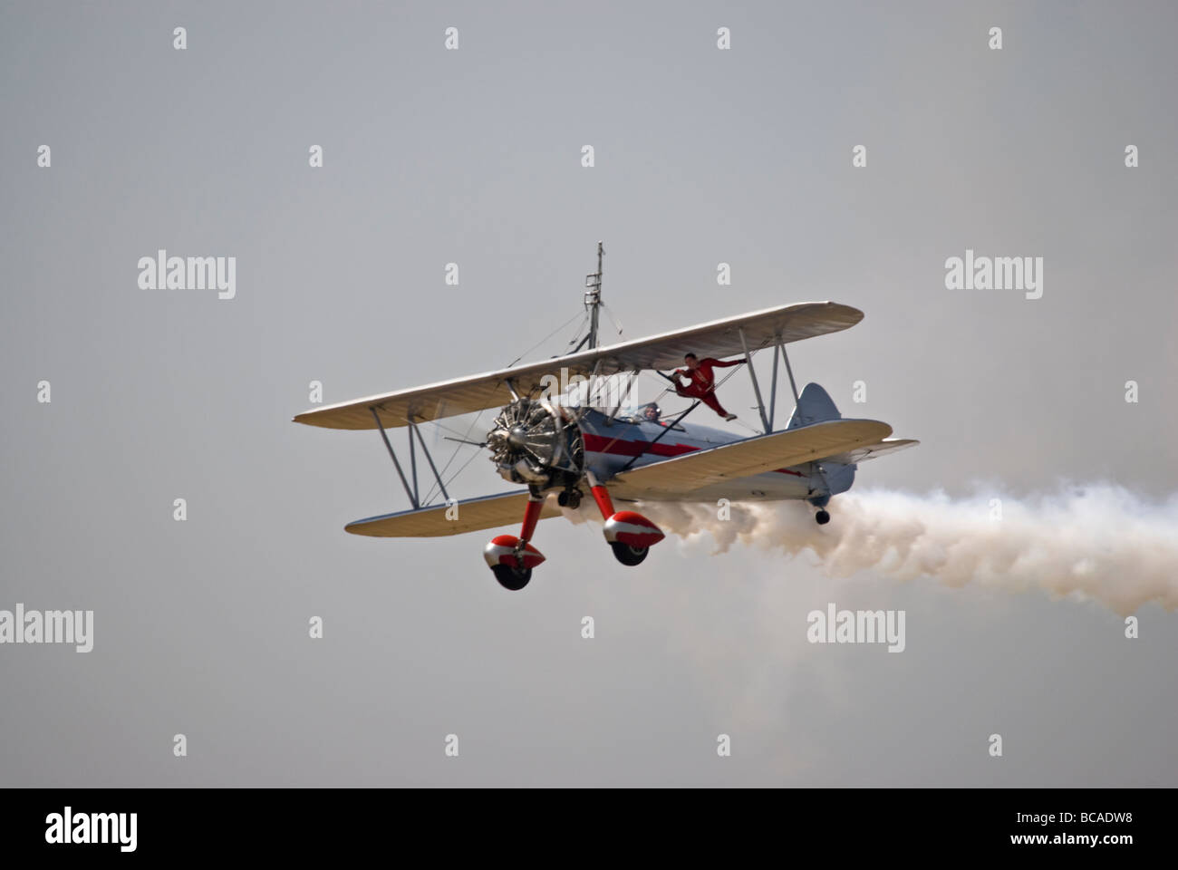 The team of 'Silver Wings Wingwalking' at an airshow - Stock Image