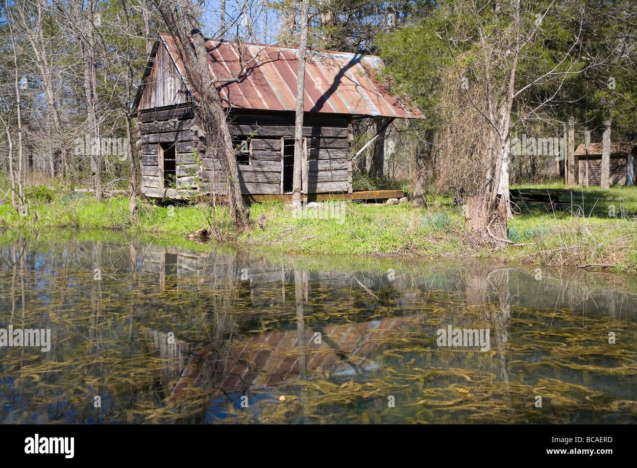 Falling Spring Thomas Brown Cabin Missouri - Stock Image