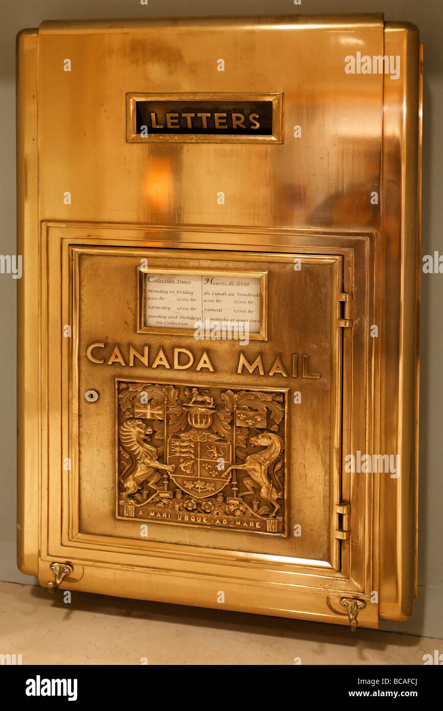 Fairmont Hotel Golden Letter Box Vancouver City Canada North America - Stock Image