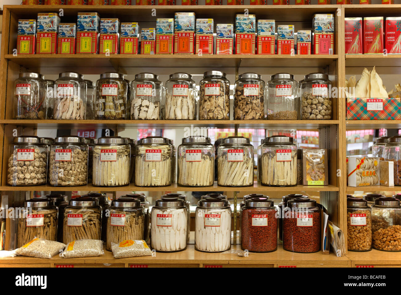Chinese drugstore in Chinatown Vancouver City Canada North America - Stock Image