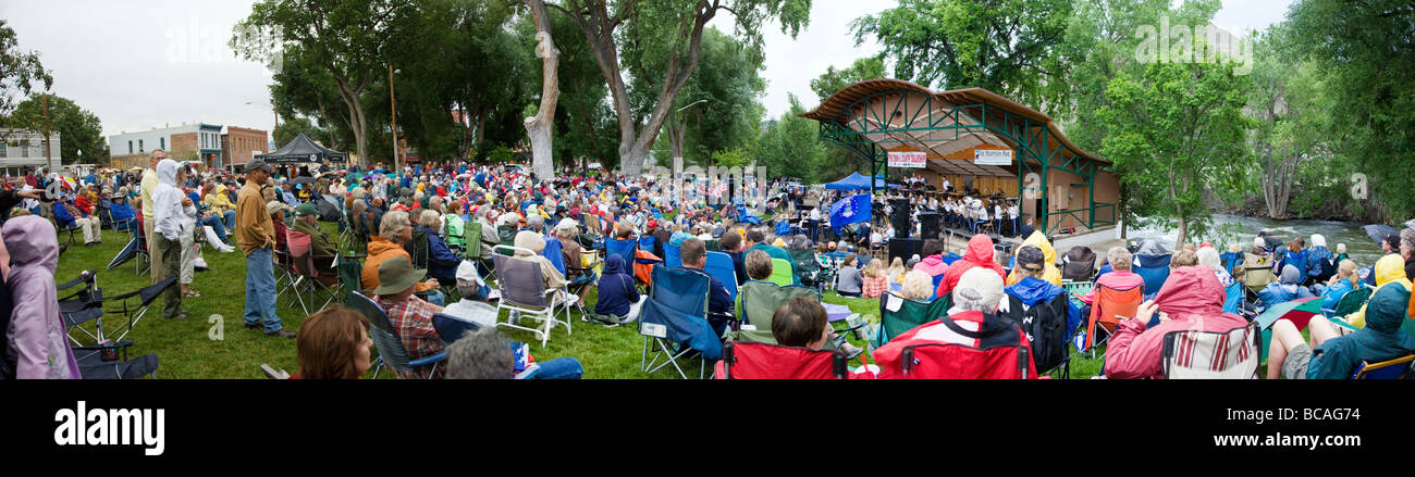 Panorama of the US Air Force Academy Band plays in Riverside Park on July 2nd Salida Colorado USA - Stock Image