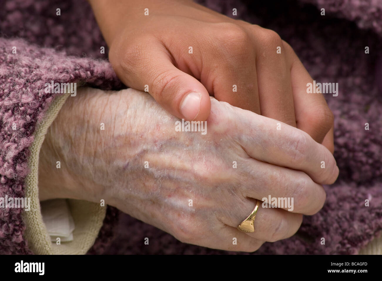 close up of young woman's hand holding hand of elderly lady - Stock Image