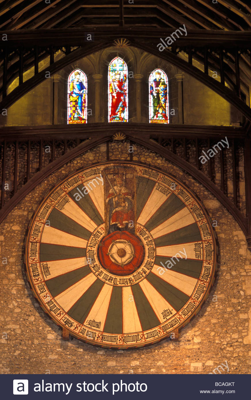 The roundtable, built during King Arthur's reign, hanging  in the great Hall in Winchester, England. - Stock Image