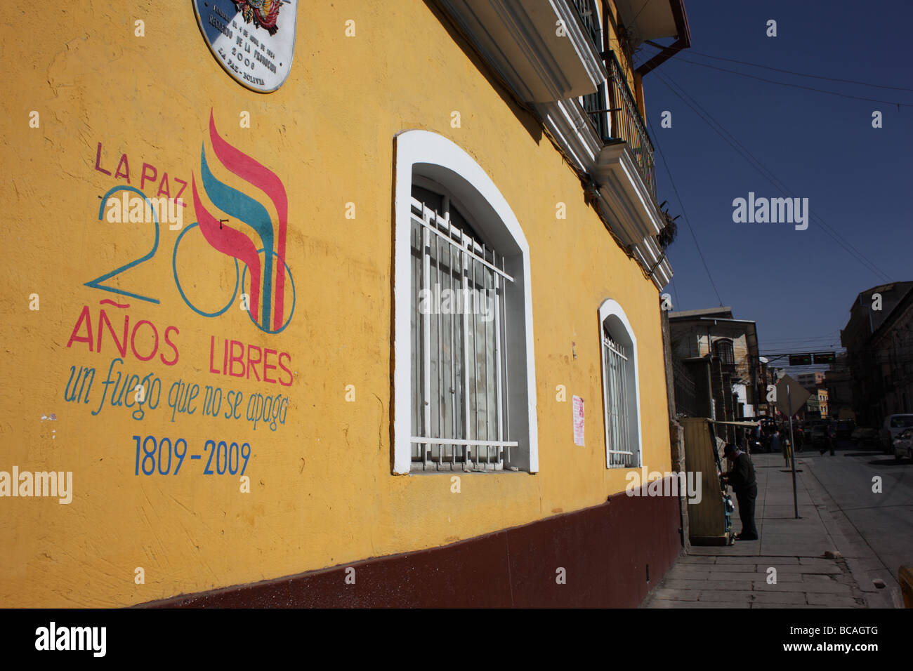 Symbol of 200th anniversary of first declaration of independence in S America on colonial wall , La Paz , Bolivia Stock Photo