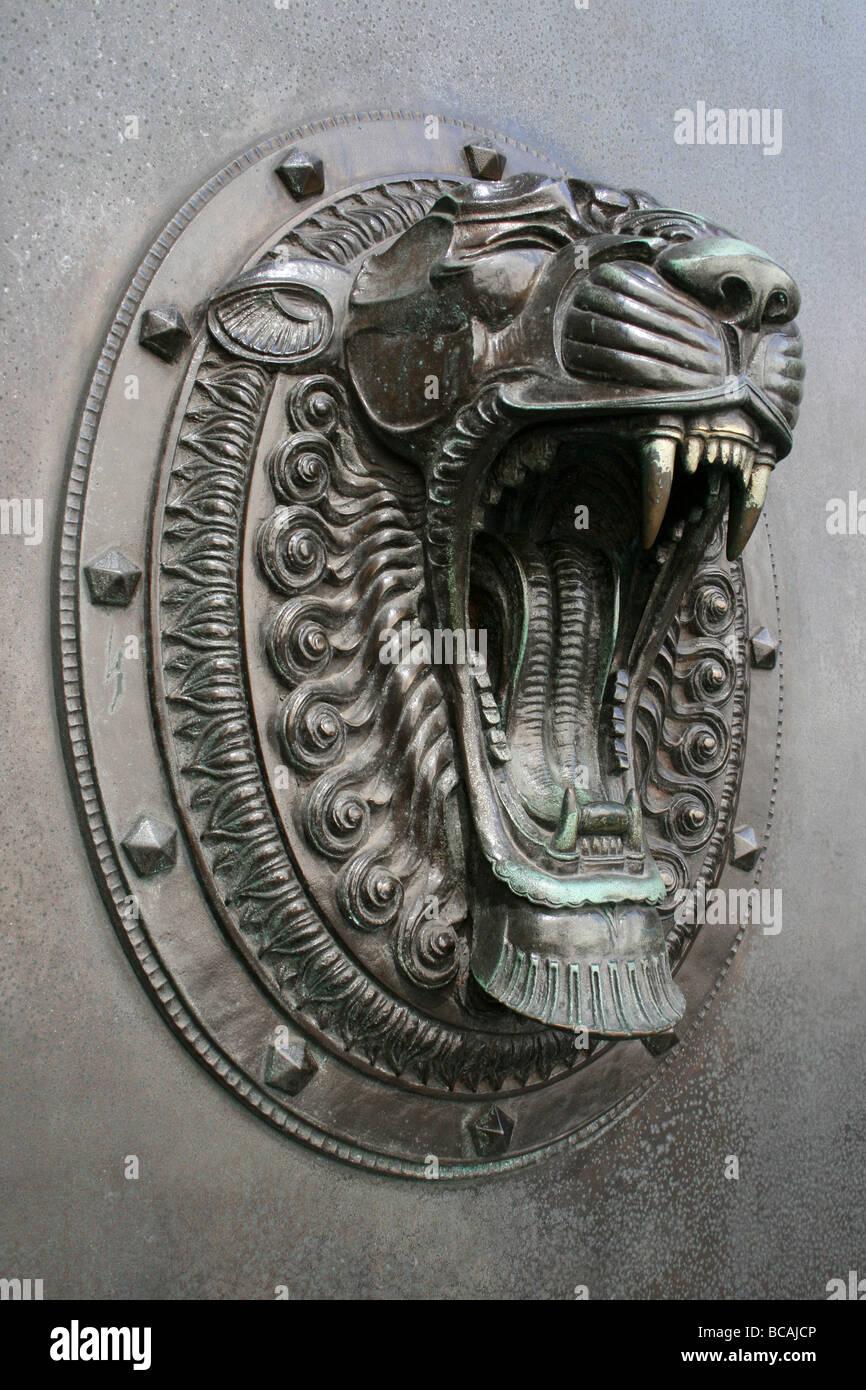 Lion Door Knocker In Liverpool Merseyside, UK   Stock Image