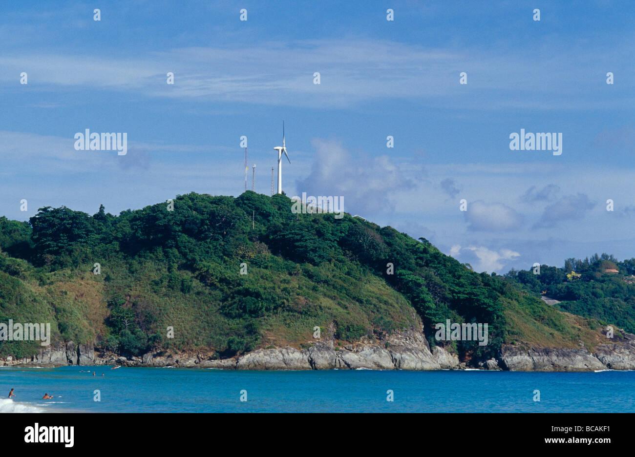An environmentally friendly energy wind farm on a coastal hilltop. - Stock Image