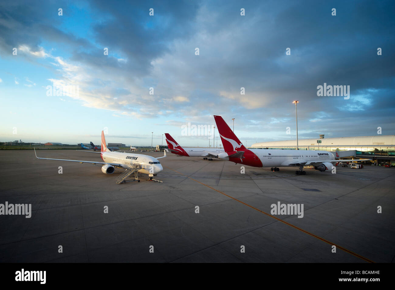 Qantas jets at airport terminal - Stock Image