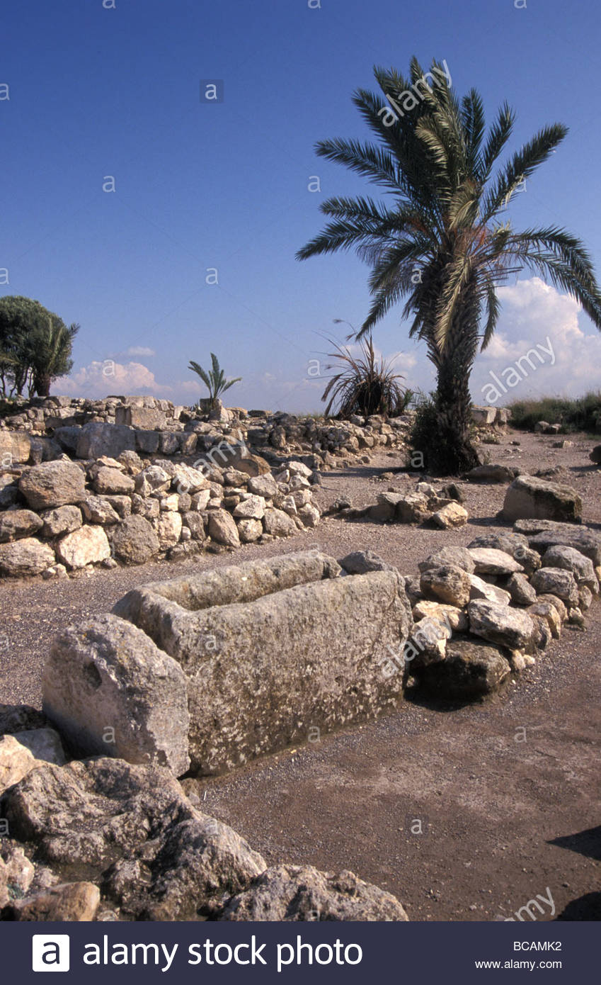 Excavations of the ancient biblical city of Meggido, Israel. - Stock Image