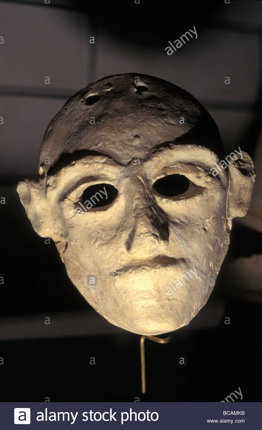 Hittite Death mask found in a grave. - Stock Image