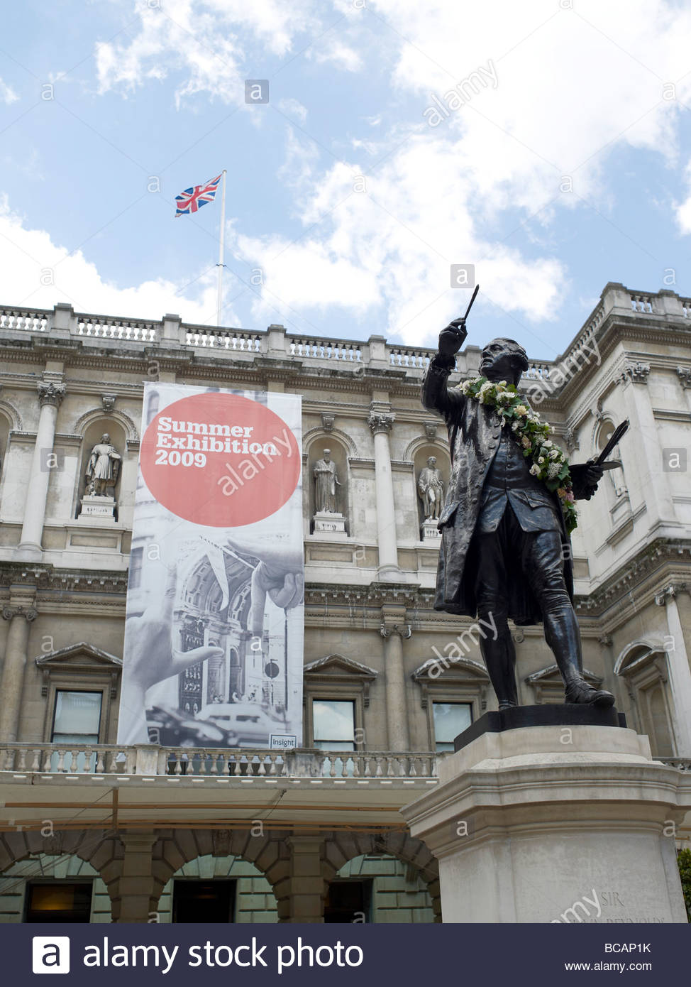 Royal Academy of Arts in London entrance and archway., Burlington House in Picadilly. Stock Photo