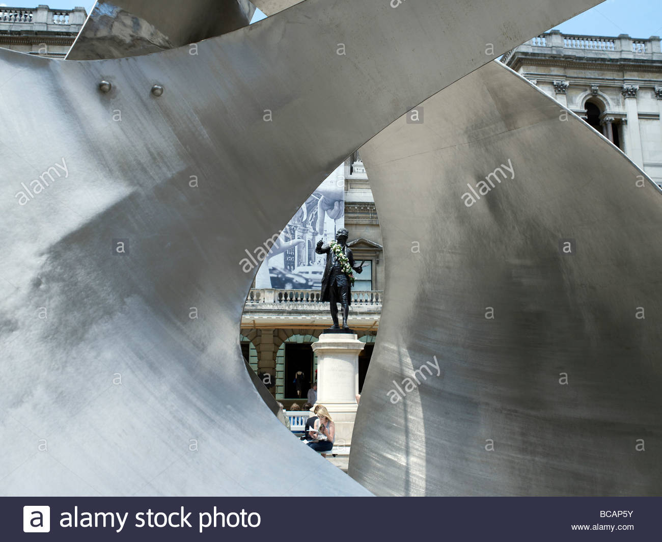 Royal Academy of Arts in London entrance and archway., Burlington House in Picadilly. - Stock Image