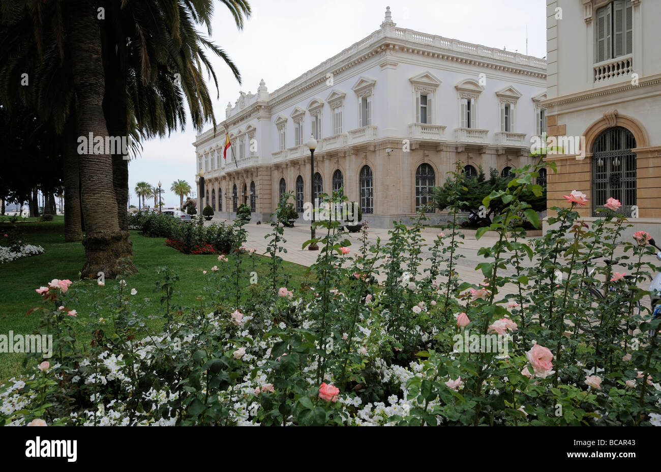 Cartagena local government buildings and gardens, Spain - Stock Image