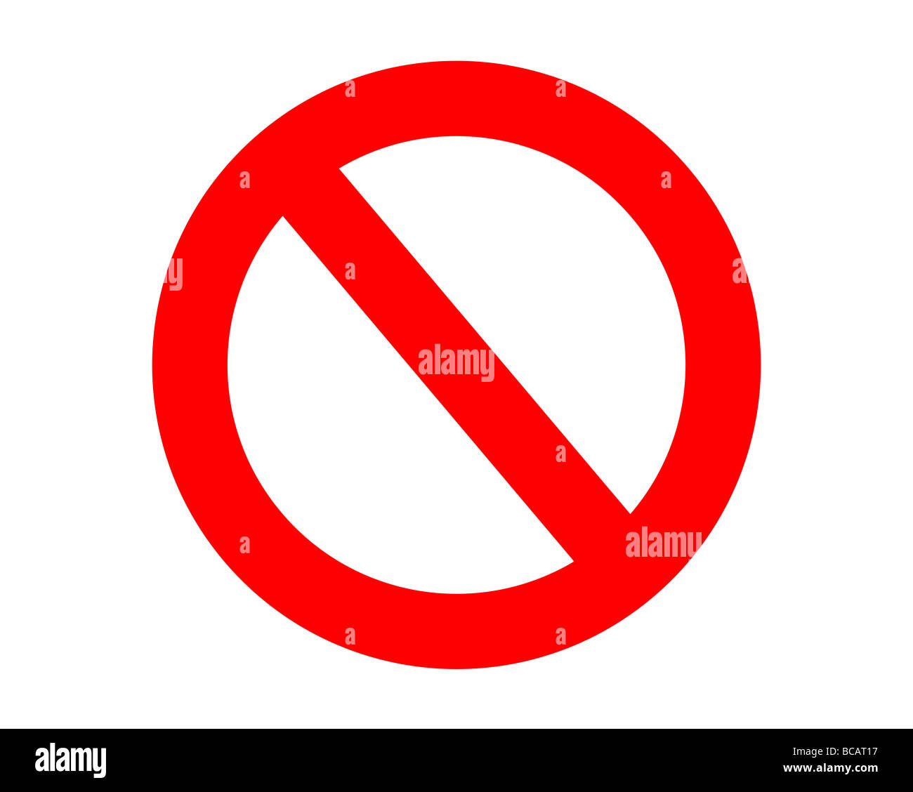 Red no entry sign isolated on white background - Stock Image