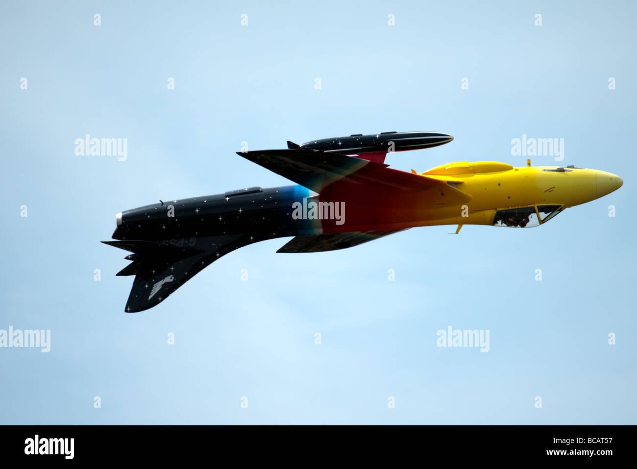 Hawker Hunter Miss Demeanour aerial display at Biggin Hill Airshow Stock Photo