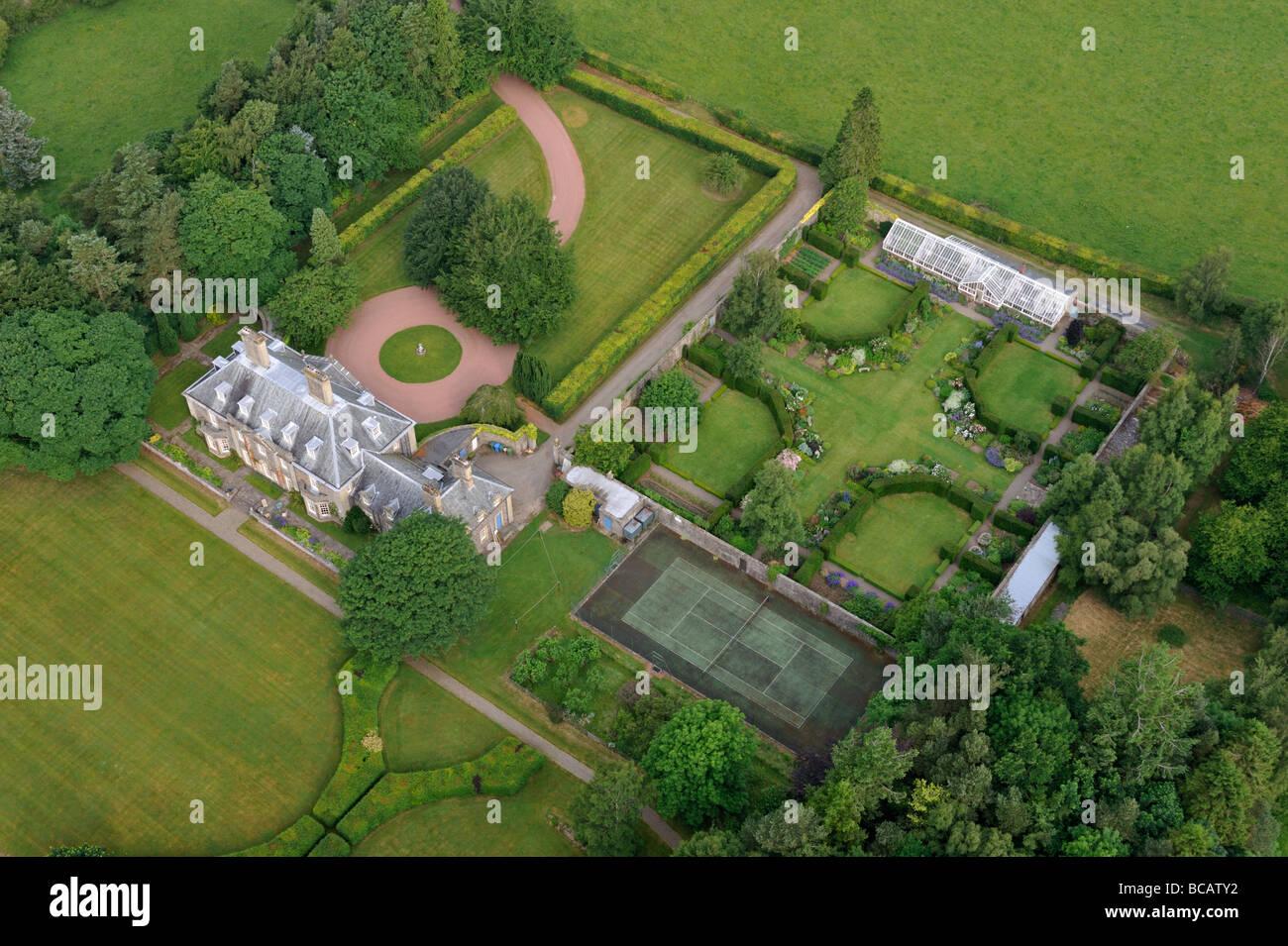 Aerial view of Symington House. South Lanarkshire, Scotland, United Kingdom, Europe. - Stock Image
