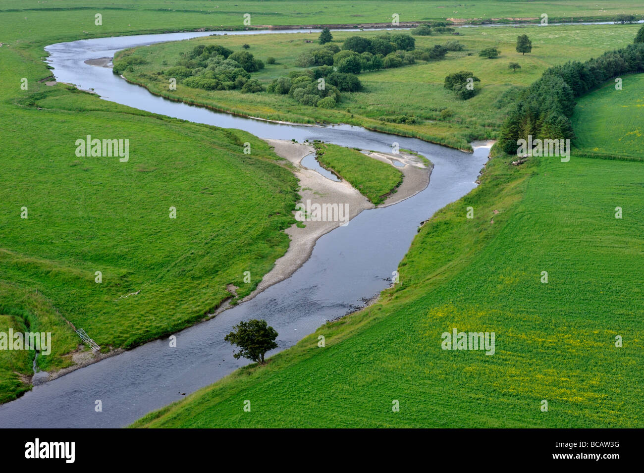 Aerial view of River Clyde, near Symington, South Lanarkshire, Scotland, United Kingdom, Europe. - Stock Image