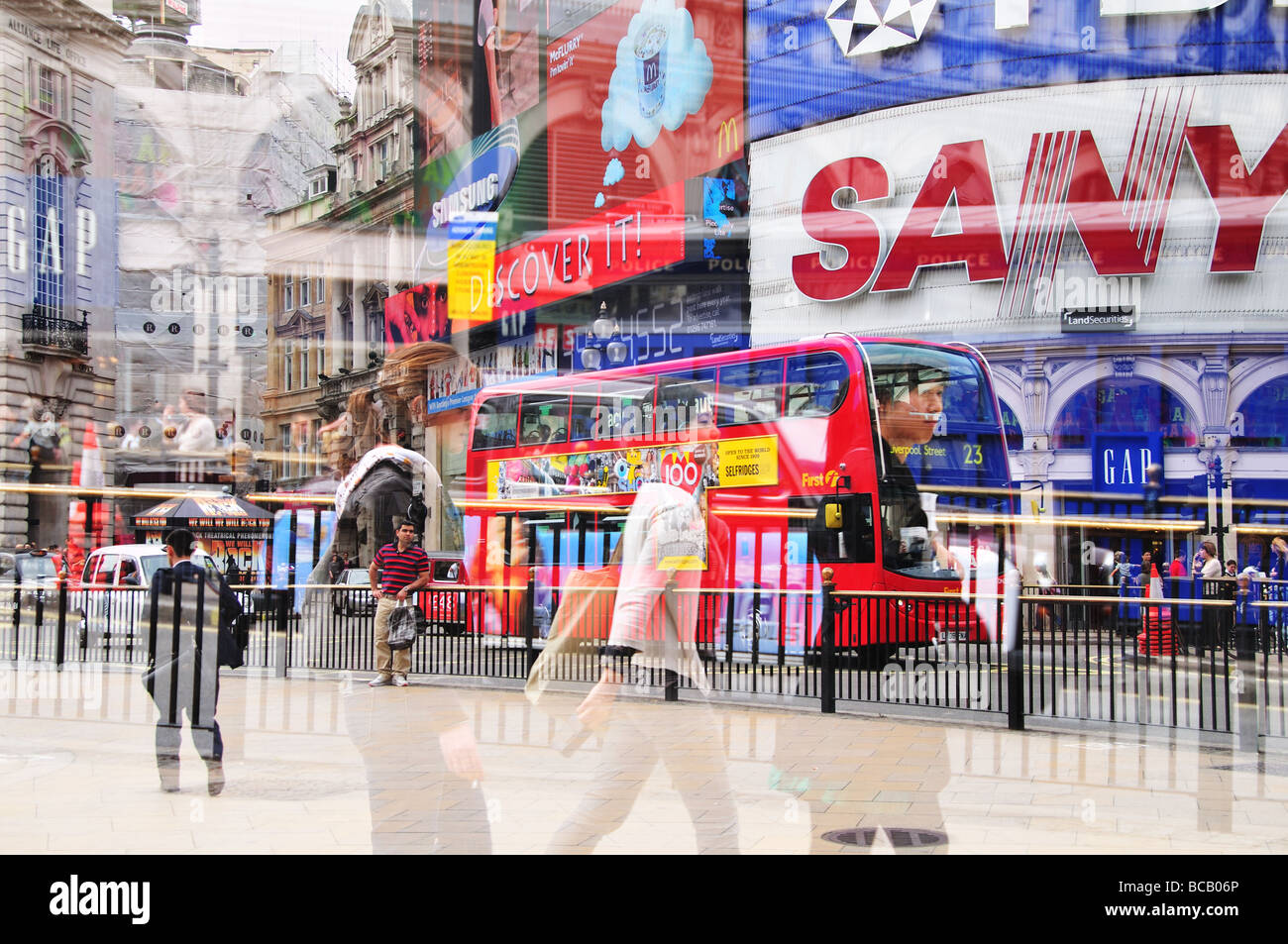 Piccadilly Circus in the centre of London, England - Stock Image