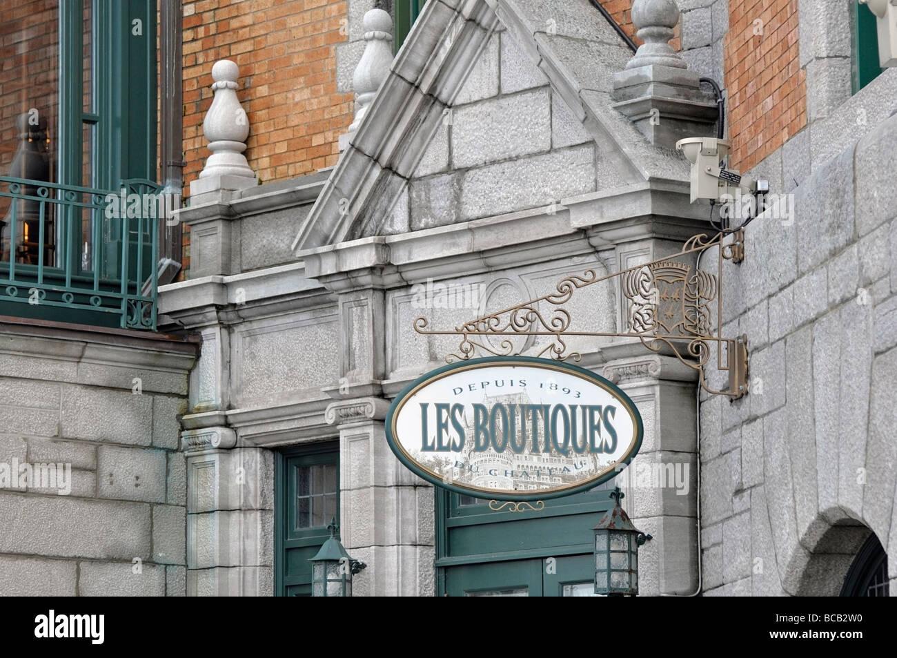 Les Boutiques Sign, Quebec City, near Chateau Frontenac & Dufferin Terrace - Stock Image
