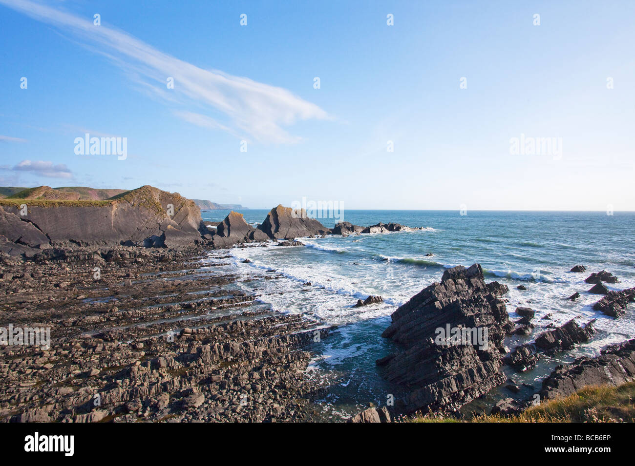 Hartland Quay North Devon Heritage Coast summer sun England UK United Kingdom GB Great Britain British Isles Europe - Stock Image