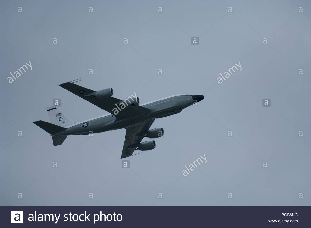 An RC-135 reconnaissance jet performs at an airshow in Nebraska. - Stock Image