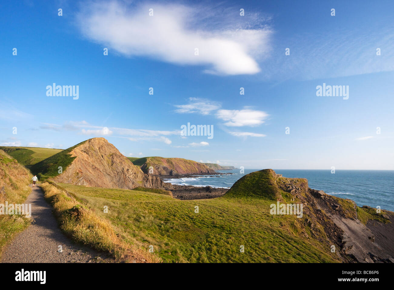 Hartland Quay coastal footpath looking to Speke's Mouth North Devon Heritage Coast England UK United Kingdom - Stock Image