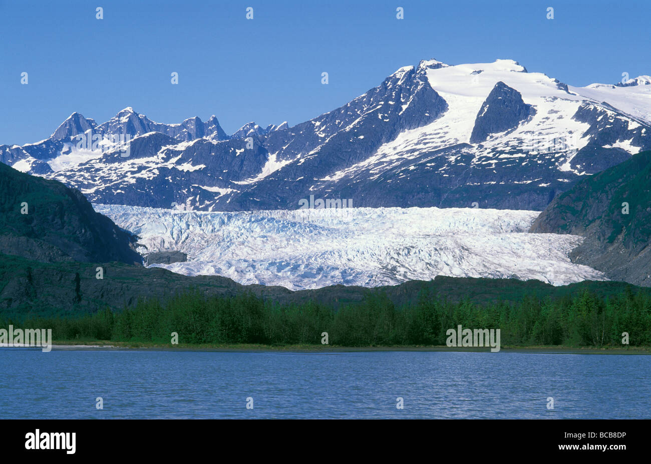 Mendenhall Lake, Mendenhall Towers, Glacier and Mount Wrather. - Stock Image