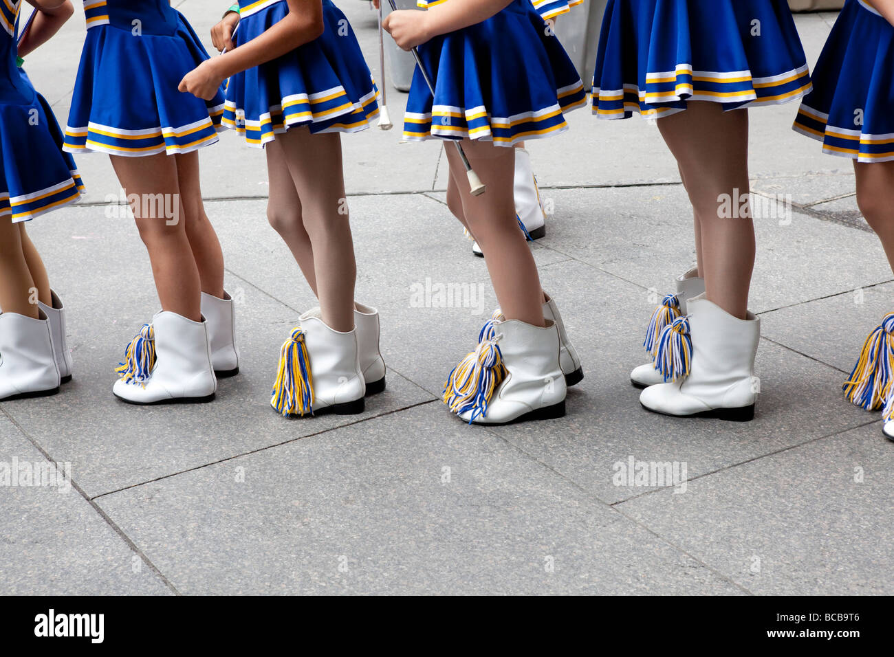 Majorettes on their way to the Puerto Rican day parade - Stock Image