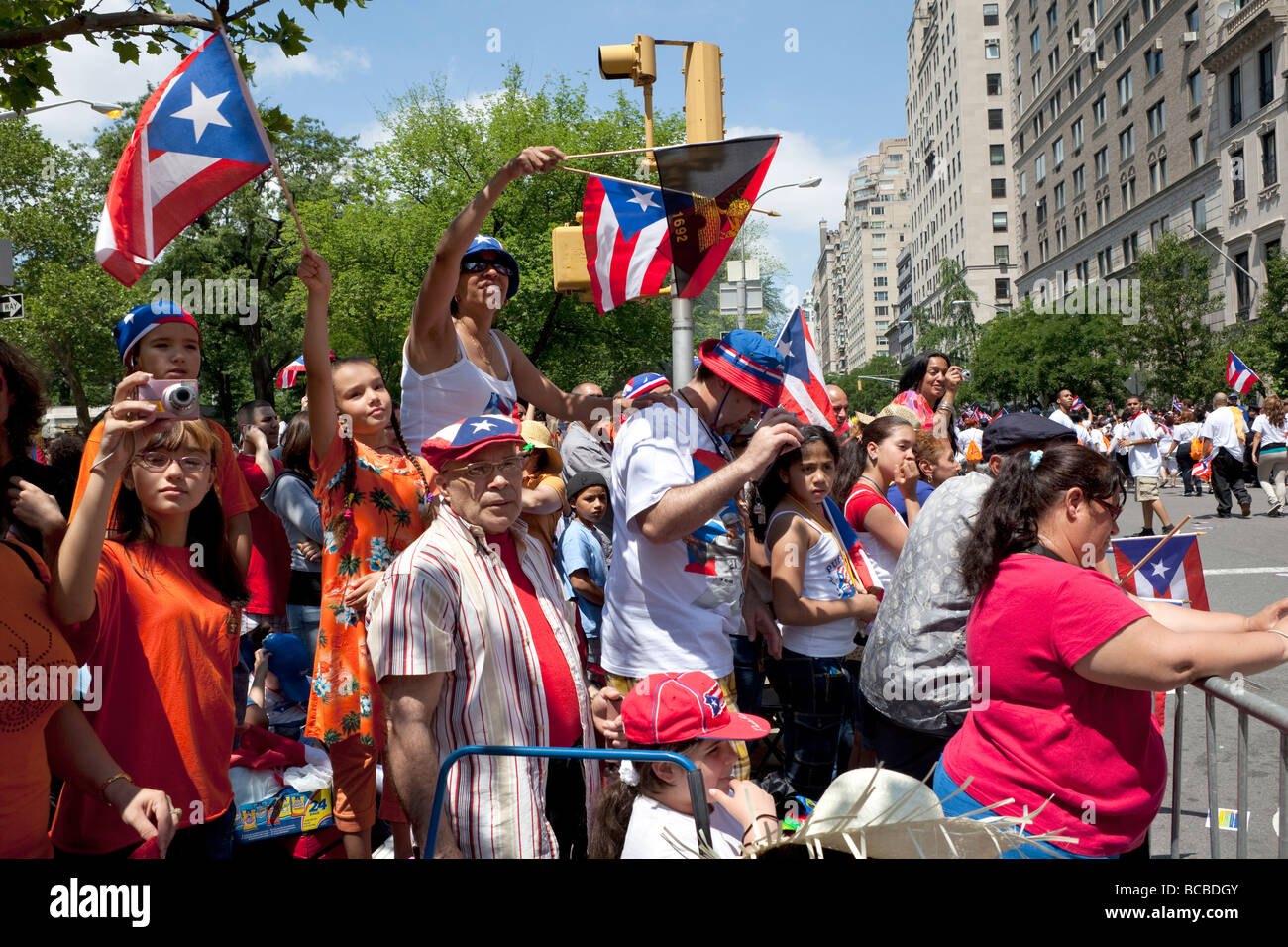 Annual Puerto Rican day parade on 5th Avenue - Stock Image