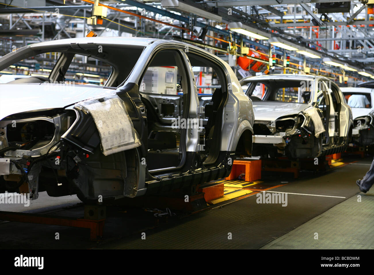 Vauxhall Car Factory production line Ellesmere Port showing Vauxhall Astras in production - Stock Image