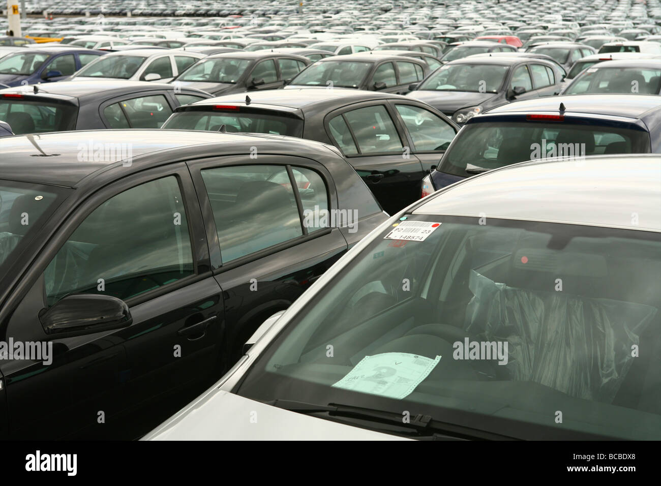 Vauxhall Car Factory Ellesmere Port, showing unsold Vauxhall Astras - Stock Image