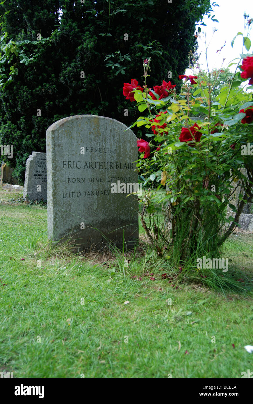 George Orwell's grave in the village of Sutton Courtenay Abingdon in Oxfordshire Stock Photo