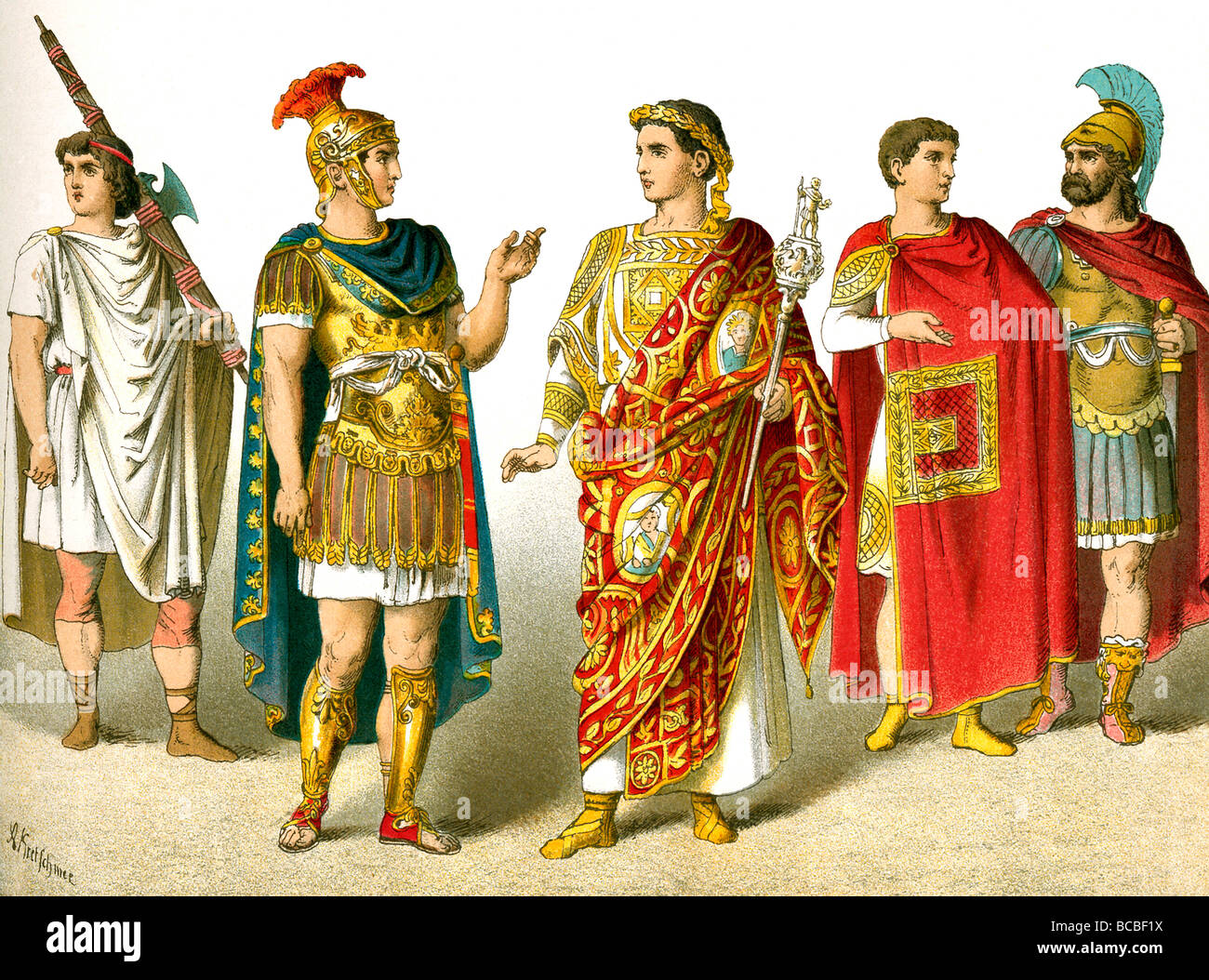 The illustrations depicts a Roman lictor, general, general celebrating a triumph, magistrate, officer. - Stock Image