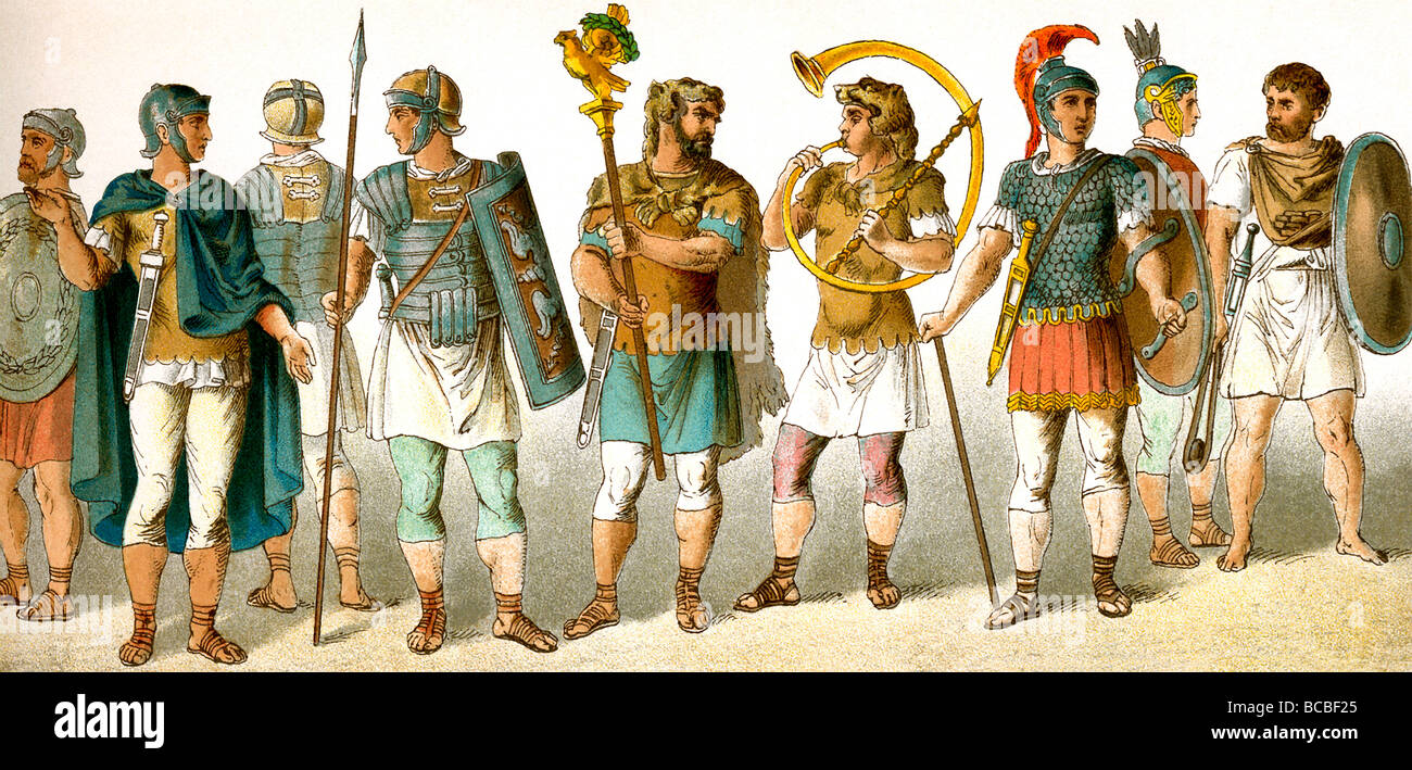 Roman military personnel: four soldiers,  standard bearer, horn blower, chieftain, soldier, and slinger - Stock Image
