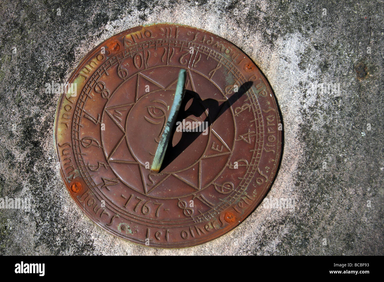 A sundial at Consall Hall Gardens,Staffordshire, - Stock Image