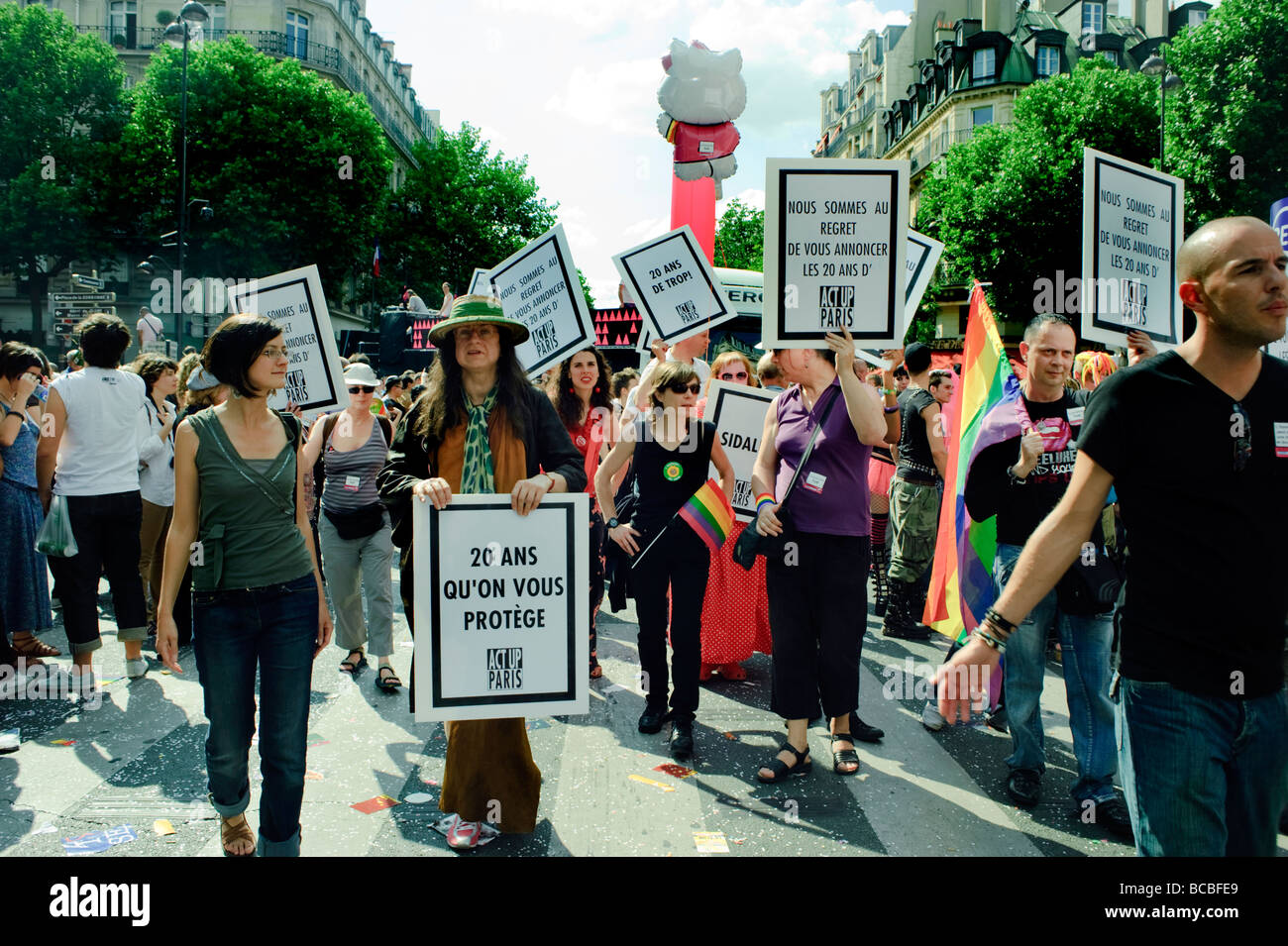 Paris France, Public Events, People Celebrating at the 'Gay Pride' Parade 'Act Up' Anti AIDS Female - Stock Image