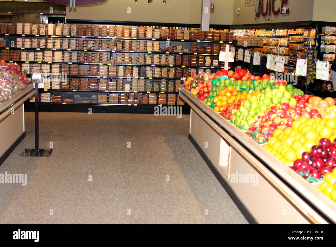 Isles Of Food And Fresh Produce Displayed Inside Grocery Store Stock Photo Alamy