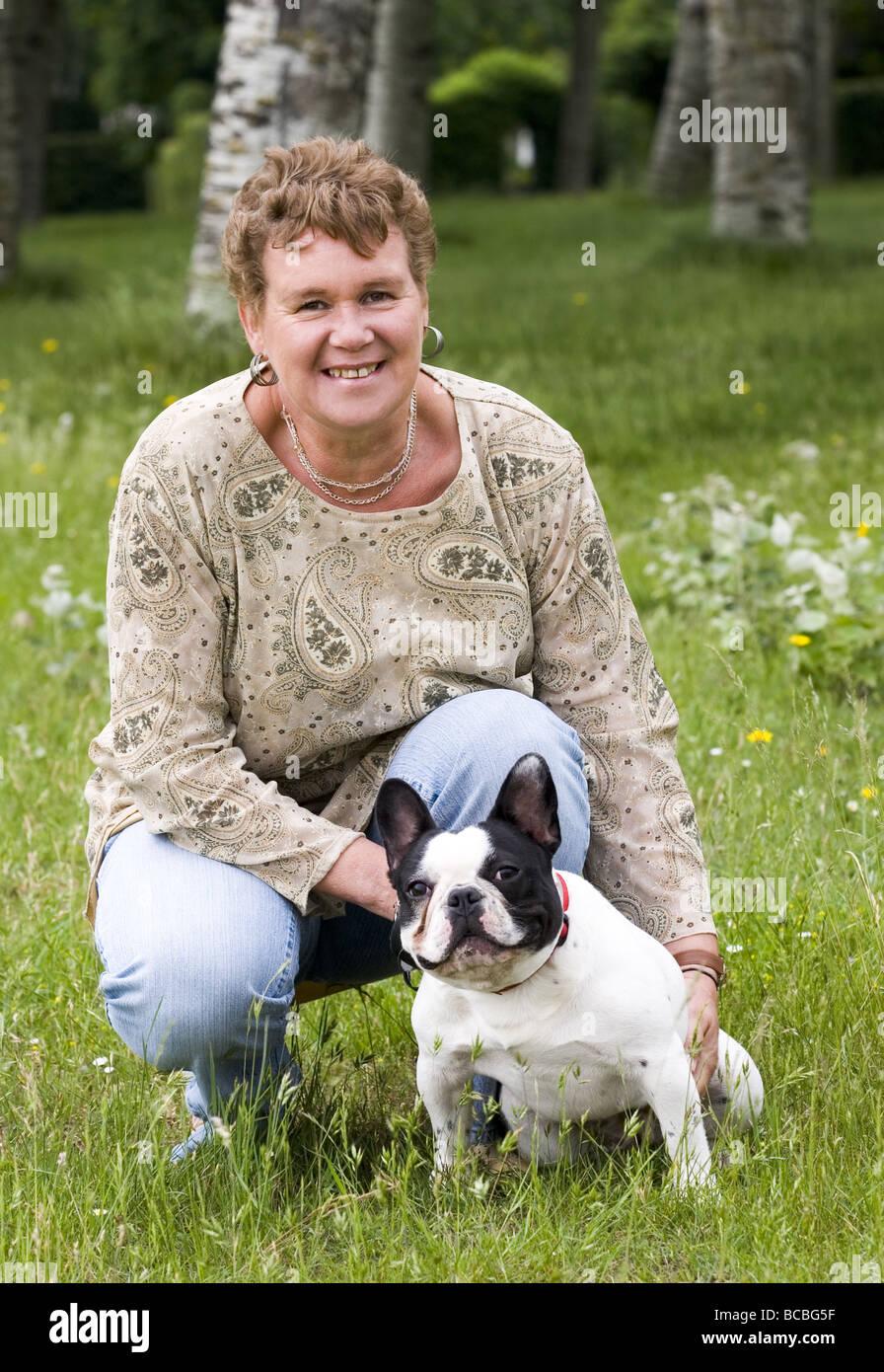 Woman portrait with pitbull dog SerieCVS517505 - Stock Image
