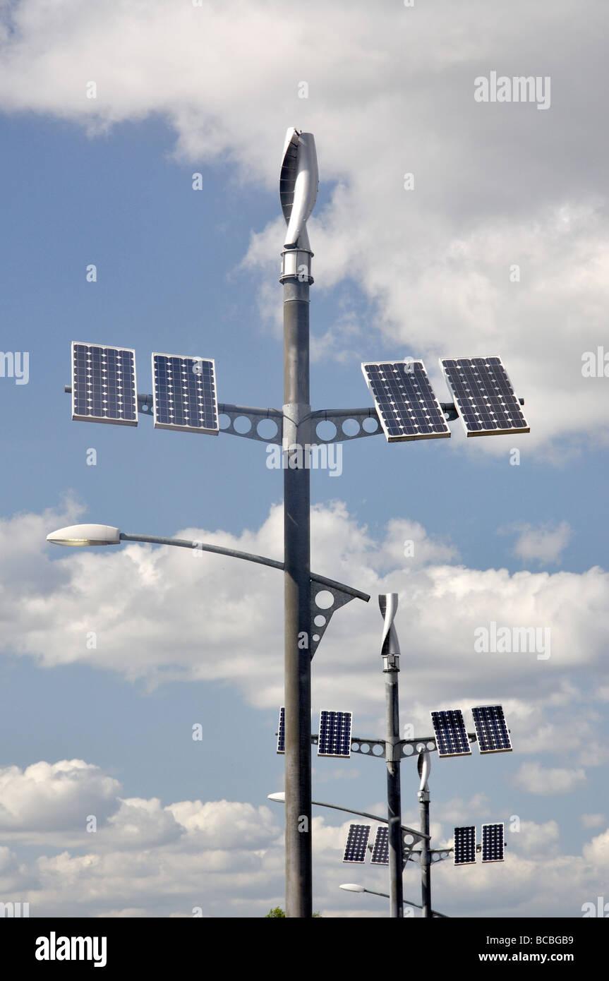 Solar energy combined wind and solar panels, Old Woking, Surrey, England, United Kingdom - Stock Image